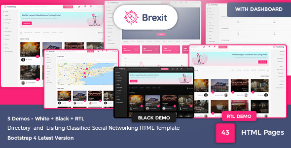 Brexit – Classified and Directory Social Networking HTML Template