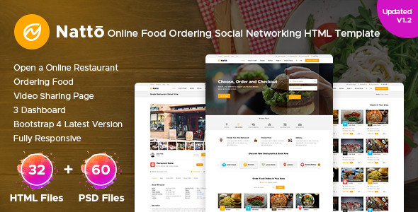 Natto – Online Food Ordering Social Networking Html Template