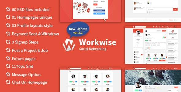 Workwise – The Freelancer And Social Networking PSD Template
