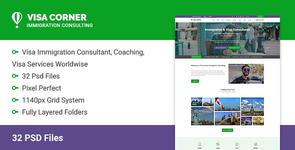 Visa Corner | Immigration and Consulting Psd Template