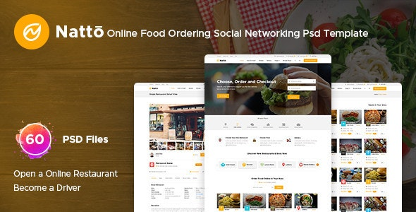 Natto – Online Food Ordering Social Networking Psd Template